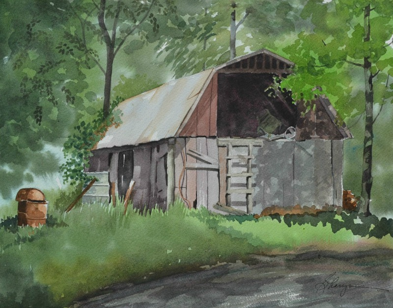 "Sharyn Fogel Watercolor ""Bridal Veil Barn"""