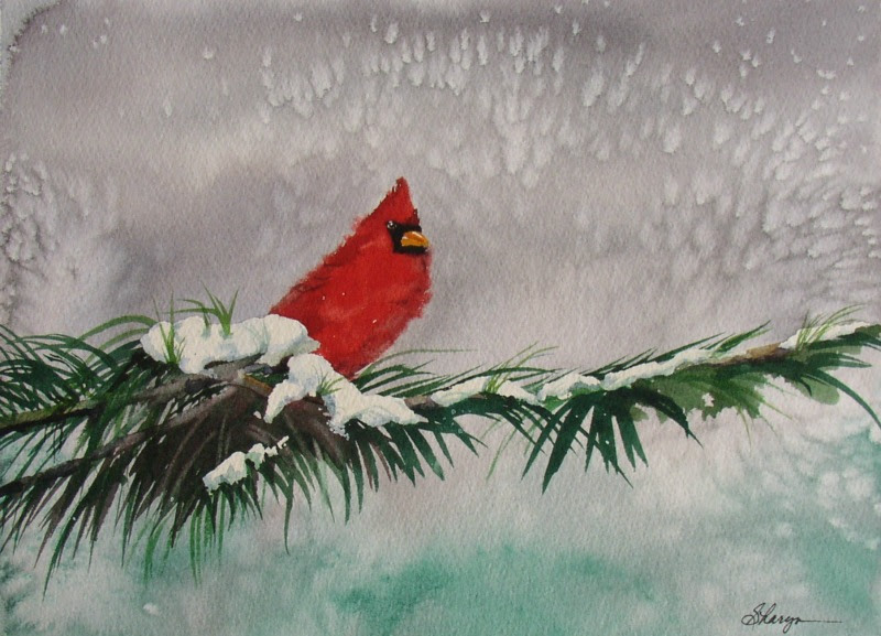 "Sharyn Fogel Watercolor ""Christmas Cardinal"""