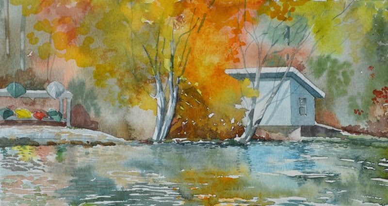 "Sharyn Fogel Watercolor ""Connestee Falls"""